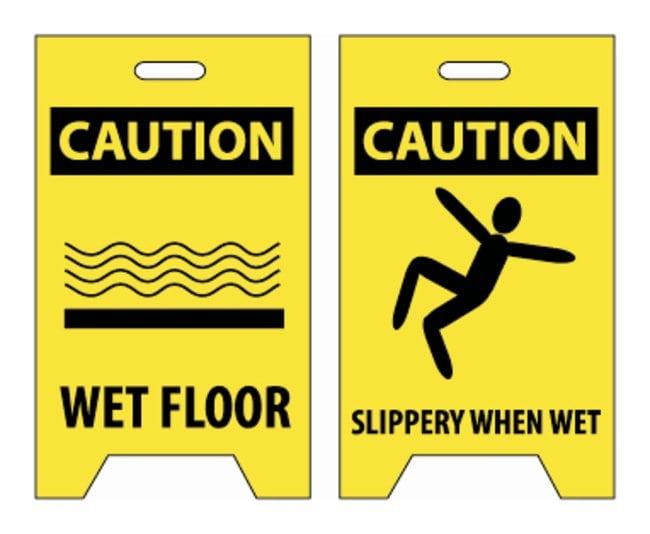 National MarkerCaution Wet Floor/Slippery When Wet Sign Corrugated polyethylene