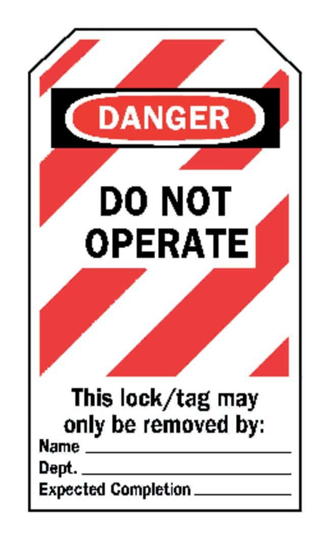 """Brady™Red Striped """"Do Not Operate"""" Lockout Tags"""