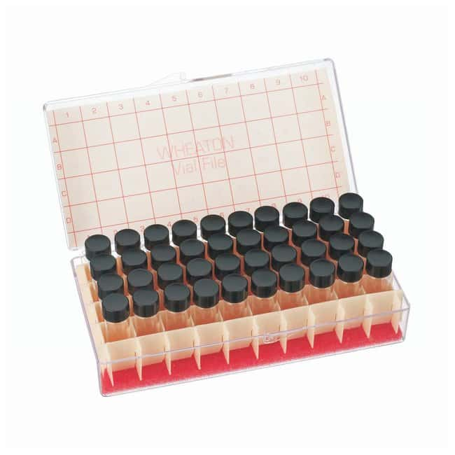 DWK Life Sciences Wheaton™ Glass Sample Vials in Vial File™ 4mL; Clear; 13-425; 15 x 48mm; 14B Rubber Liner DWK Life Sciences Wheaton™ Glass Sample Vials in Vial File™