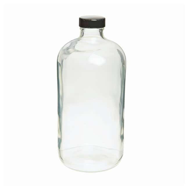 Wheaton  Safety-Coated Narrow Mouth Bottles with PE Cone LPDE-Lined Black Phenolic Cap