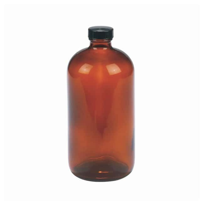 DWK Life Sciences Wheaton™ Safety-Coated Narrow Mouth Amber Bottles with Aluminum-Foil-Lined Black Phenolic Caps