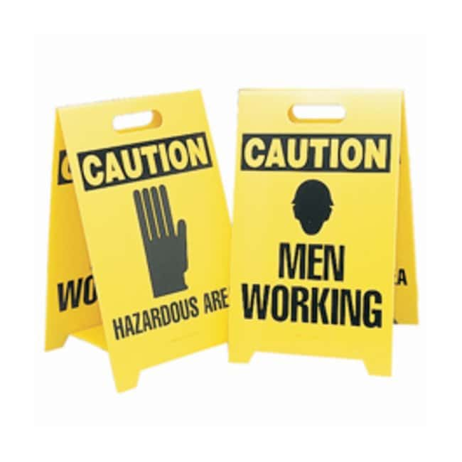 Brady Reversible Floor Stands Front Legend: HAZARDOUS AREA (w/ picto):Gloves,