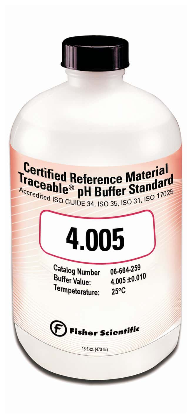 Fisherbrand™Traceable™ pH Buffer Standards, Certified Reference Material (CRM) pH 4.005 16 oz. bottle Fisherbrand™Traceable™ pH Buffer Standards, Certified Reference Material (CRM)
