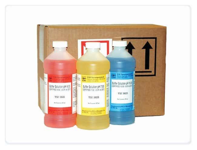 Assorted pH Buffers Case, YSI™ Plastic bottle; 475mL pH Reference Buffers