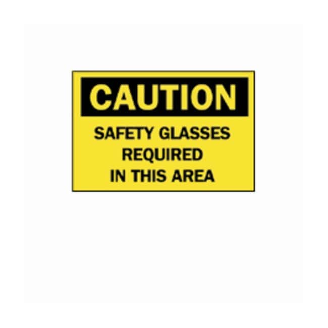 """Brady™""""Caution: Safety Glasses Required..."""" Signs"""
