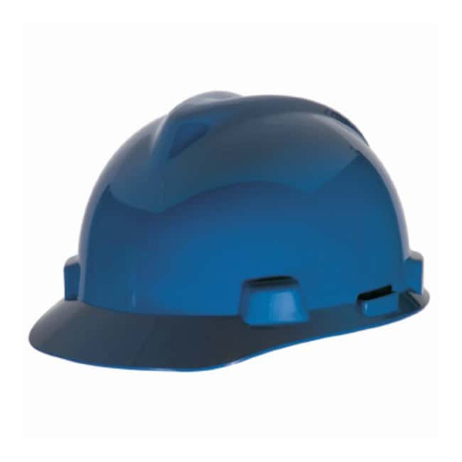 MSA V-Gard Slotted Protective Cap with Fas-Trac Suspension Standard; Blue:Gloves,