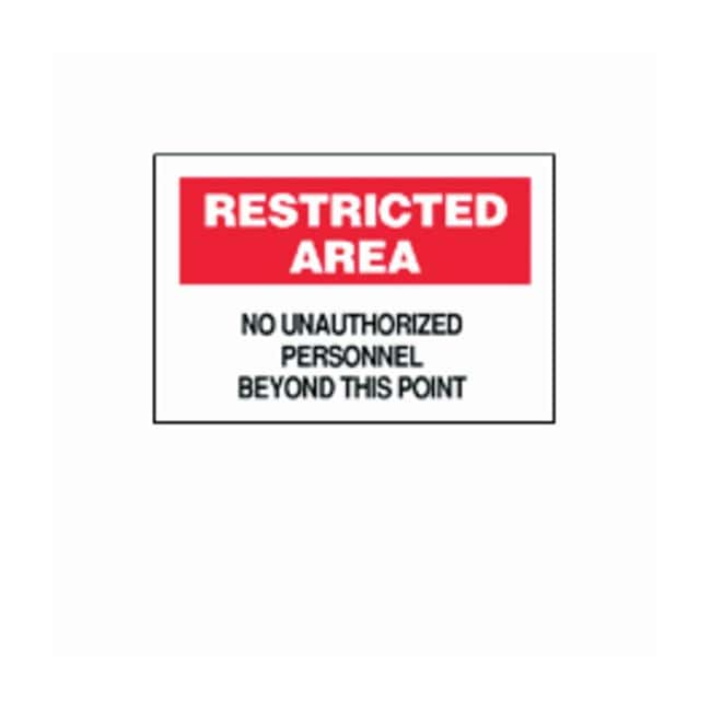 Brady Restricted Area Signs Legend: Restricted Area No Unauthorized Personnel