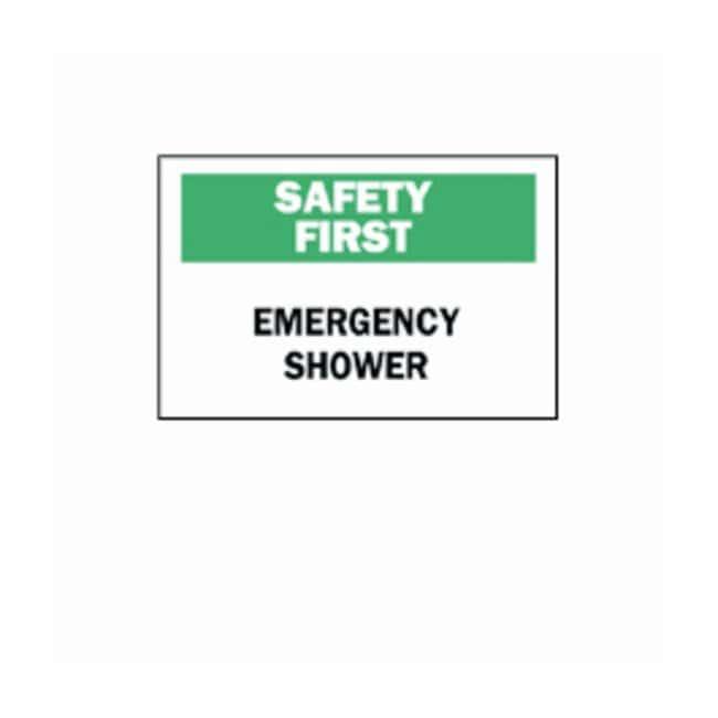 "Brady™""Safety First"" Emergency Shower Signs"