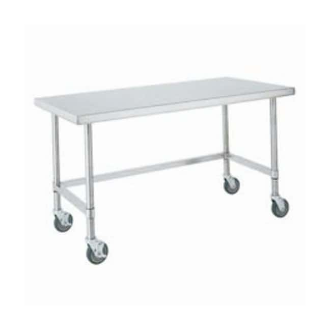 Metro™ HD Super Stainless Lab Worktable, Mobile Stainless steel posts; Stainless steel bottom frame (3-sided); 72 in. (182.5cm) L Metro™ HD Super Stainless Lab Worktable, Mobile