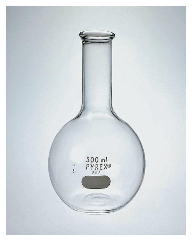 PYREXLong Neck Flat Bottom Flasks, Tooled Mouth:Flasks:Boiling Flasks