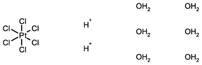 Hydrogen hexachloroplatinate(IV) hydrate, 99.9%, (trace metal basis), 38 to 40% Pt, ACROS Organics