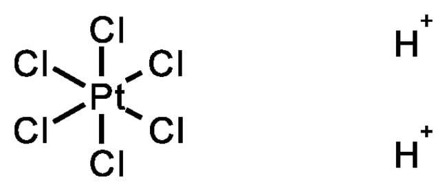 Hydrogen hexachloroplatinate hydrate, 99.995%, (trace metal basis), ACROS Organics™ Glass bottle; 5g Hydrogen hexachloroplatinate hydrate, 99.995%, (trace metal basis), ACROS Organics™