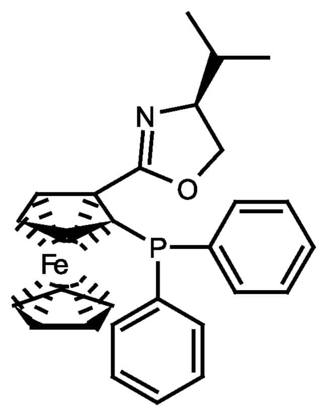 (S,S)-[2-(4'-Isopropyloxazolin-2'yl)ferrocenyl]diphenylphosphine, 97%, ACROS Organics™ Glass bottle; 250mg (S,S)-[2-(4'-Isopropyloxazolin-2'yl)ferrocenyl]diphenylphosphine, 97%, ACROS Organics™