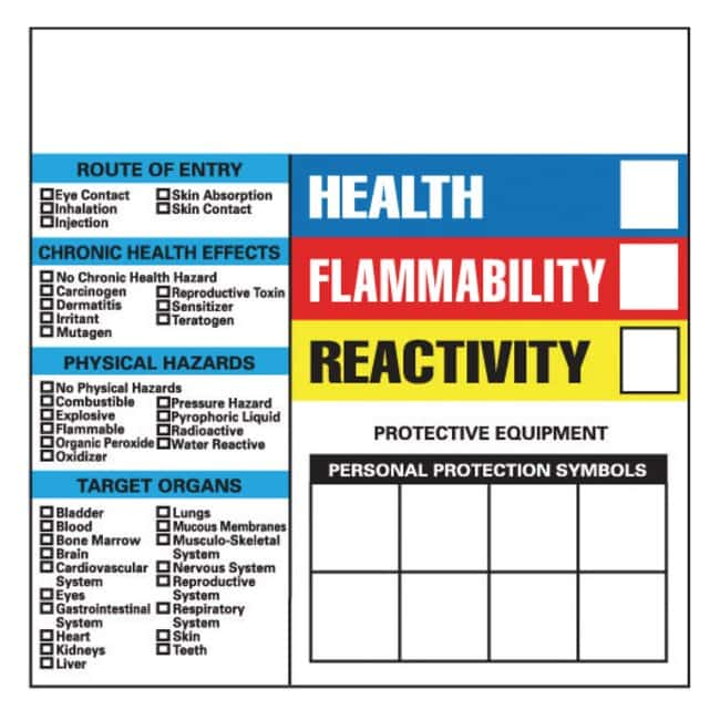 National Marker Write-On Hazardous Communication Labels:Gloves, Glasses