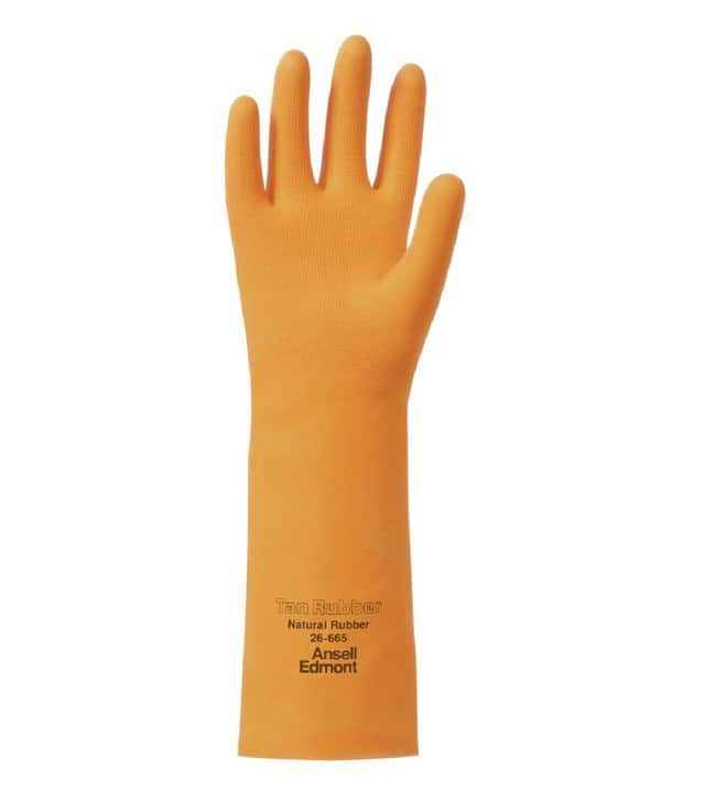 Ansell 26-665 Tan Rubber Gloves Style 665; Cotton-flock lined; Length: