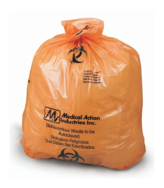 MedegenAutoclavable Waste Bags Thickness: 1.8 mil; Color: Orange/Black;