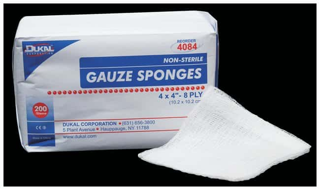 DukalNonsterile Gauze Sponges 8-Ply; 4 x 4 in.:Gloves, Glasses and Safety