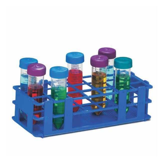 Bel-Art™ SP Scienceware™ No-Wire™ Autoclavable Test Tube Racks Blue; 25-30mm tubes; 21 places; Rectangular Bel-Art™ SP Scienceware™ No-Wire™ Autoclavable Test Tube Racks