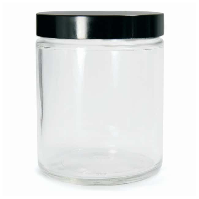 DWK Life SciencesKimble™ Clear Glass Straight-Sided Jars with Pulp/Vinyl-lined Caps With Pulp/Vinyl-lined Caps; Convenience Pack (cap attached); Capacity: 16 oz. DWK Life SciencesKimble™ Clear Glass Straight-Sided Jars with Pulp/Vinyl-lined Caps