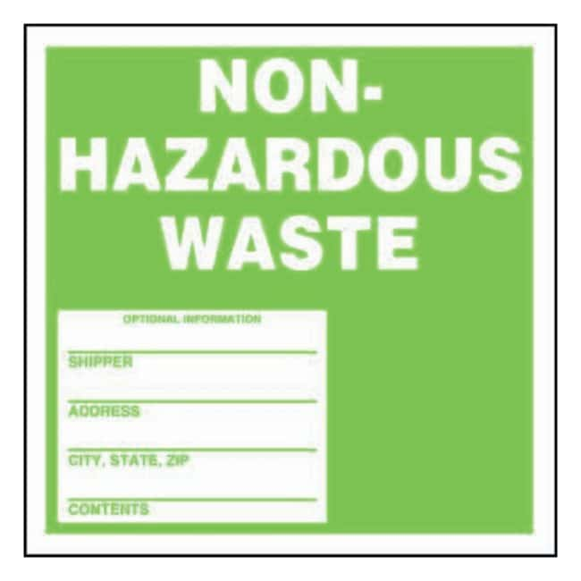 Accuform Signs Non-Hazardous-Waste Labels White on green; Size: 6 x 6 in.