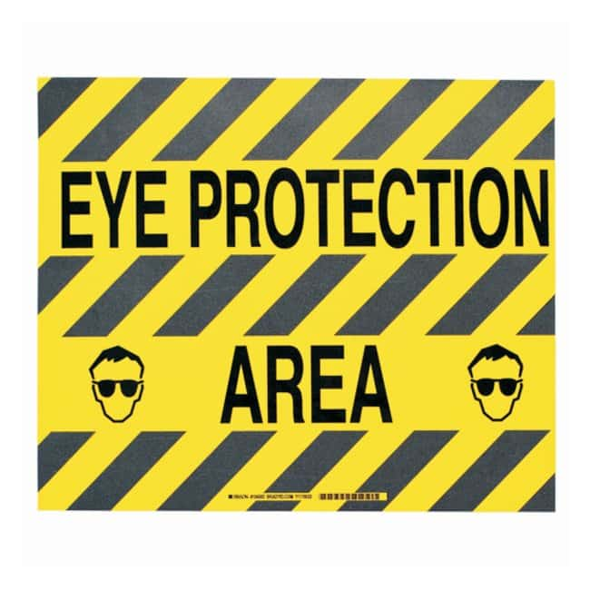 Brady™ToughStripe™ Anti-Slip Floor Safety Sign Legend: EAR PROTECTION AREA; Symbol: eye glass protection; Black on yellow Brady™ToughStripe™ Anti-Slip Floor Safety Sign