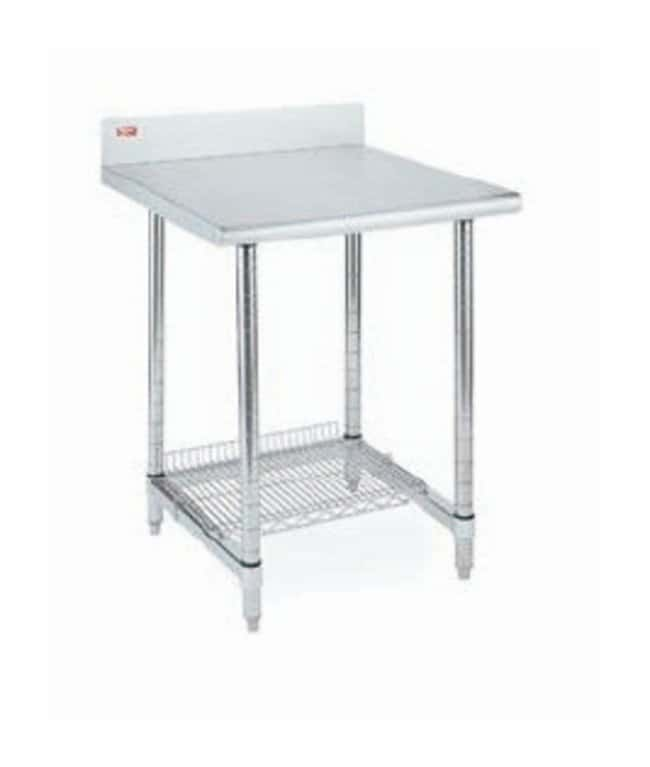 Metro™ Stainless Lab Worktable, Stainless Top, With Backsplash and 3-Sided Frame