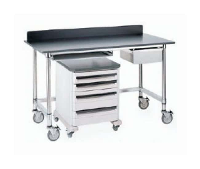 Metro™Stainless Lab Worktable, Black Phenolic Top and Solid HD Shelf Mobile; 59.7L x 30W x 35.8 in.H (151.7 x 762. x 91.1cm) Metro™Stainless Lab Worktable, Black Phenolic Top and Solid HD Shelf