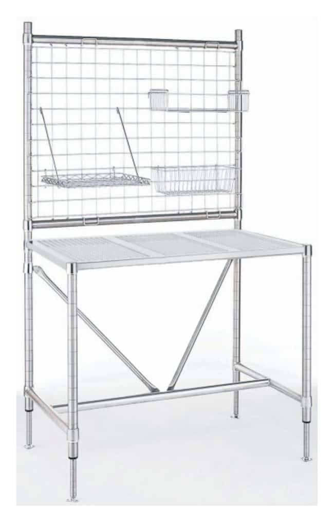 Metro Clean Room Perforated Top Table with Overhead Structure  L x W: 60