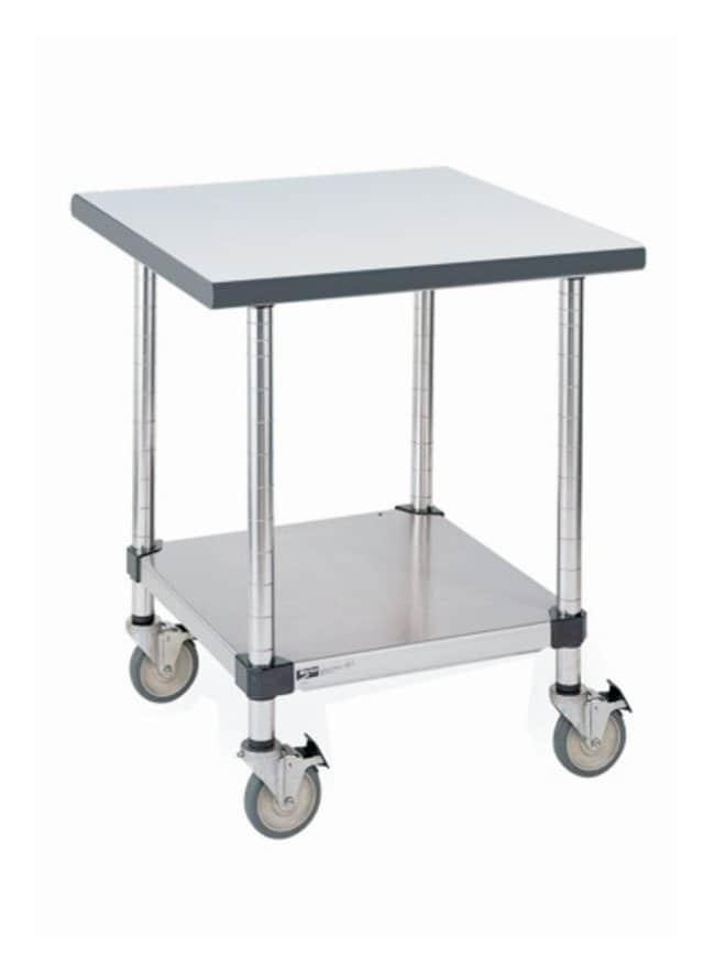 Metro™Stainless Lab Worktable, Gray Phenolic Top and Solid HD Shelf Mobile; 35.7L x 30W x 35.8 in.H (90.8 x 76.2 x 91.1cm) Metro™Stainless Lab Worktable, Gray Phenolic Top and Solid HD Shelf