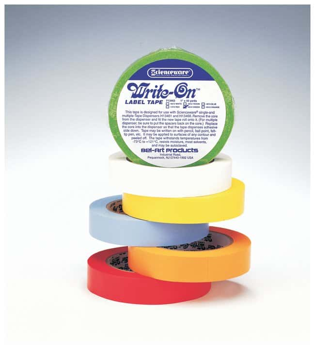 Bel-Art™ Write-On™ Paper Label Tapes 0.50 in. W x 40 yd. L; 3 in. core; Orange; 6/Pk. Bel-Art™ Write-On™ Paper Label Tapes