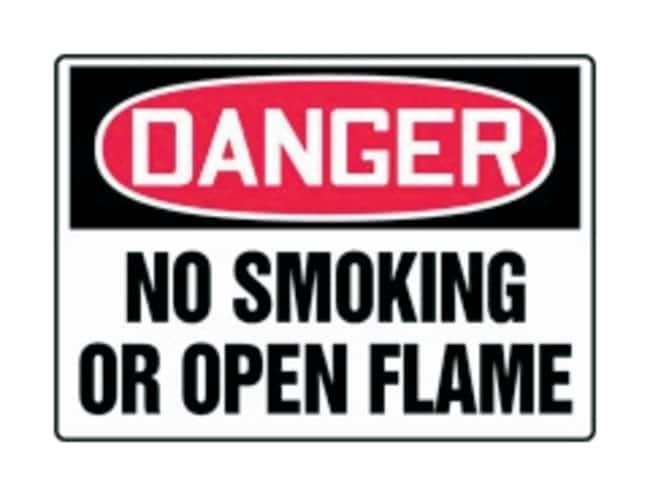 Accuform Signs No Smoking Open Flames:Gloves, Glasses and Safety:Facility