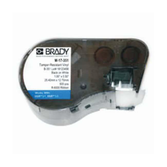Brady™BMP™51/BMP™53 Label Maker Cartridges Defender series; Tamper indicating; Material: vinyl; 12.700 x 25.400mm; Black on white Brady™BMP™51/BMP™53 Label Maker Cartridges