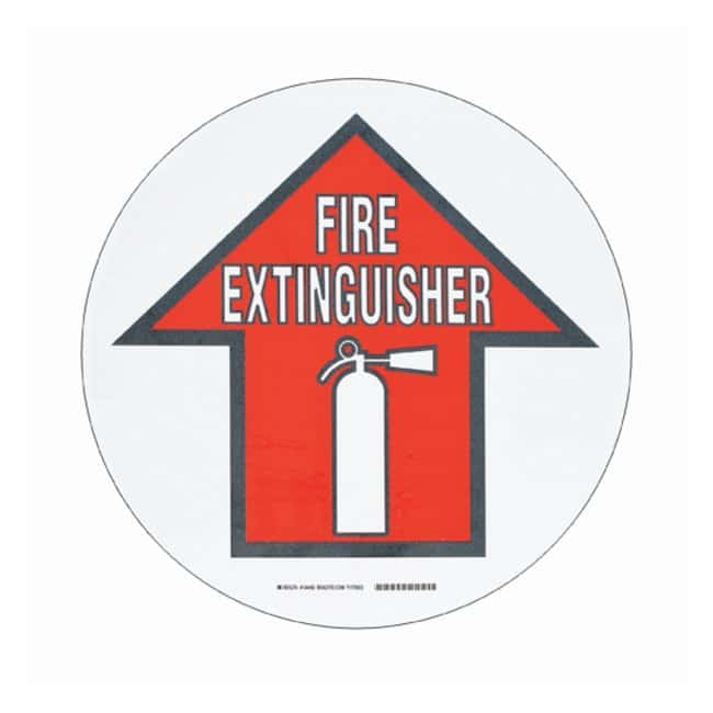 Brady™ToughStripe™ Anti-Slip Floor Safety Sign Legend: FIRE EXTINGUISHER; Symbol: fire extinguisher symbol and arrow; Red and black on white Brady™ToughStripe™ Anti-Slip Floor Safety Sign