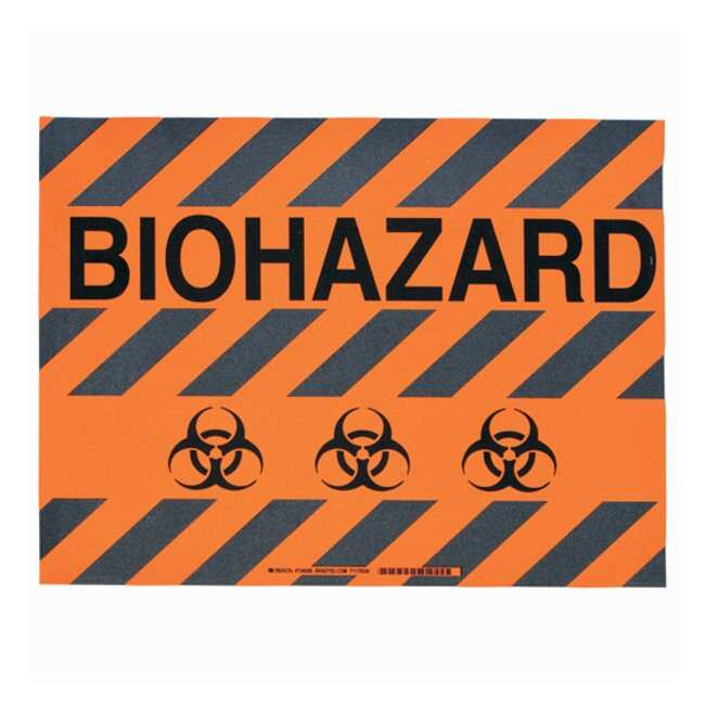 Brady™ToughStripe™ Anti-Slip Floor Safety Sign Legend: BIOHAZARD; Symbol: biohazard; Black on orange Brady™ToughStripe™ Anti-Slip Floor Safety Sign