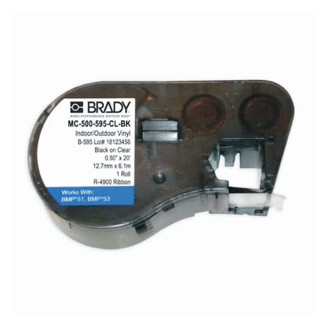 Brady™ BMP™51/BMP™53 Label Maker Cartridges: CleanLift™ Indoor/Outdoor Vinyl Size: 20W x 0.500 in. H; Black on clear Brady™ BMP™51/BMP™53 Label Maker Cartridges: CleanLift™ Indoor/Outdoor Vinyl