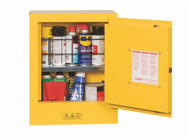 Justrite Mini Safety Cabinet  Yellow; 8D X 17W X 22 in. H (203 X 432 X