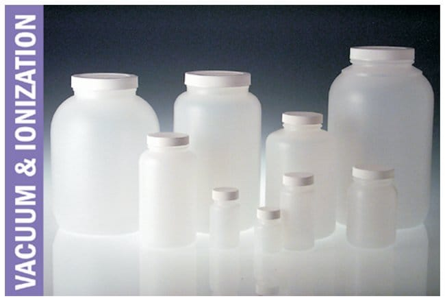 Qorpak™ Natural HDPE Wide Mouth Round Bottles with Black Phenolic Solid PE Caps, Vacuum and Ionized