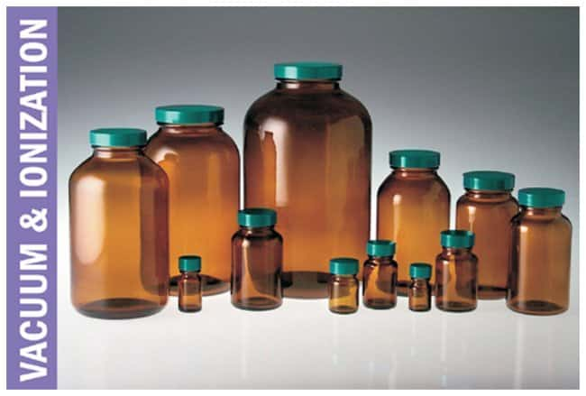 Qorpak™ Amber Wide Mouth Packer Bottles, Vacuum and Ionized with Thermoset F217 and PTFE Cap