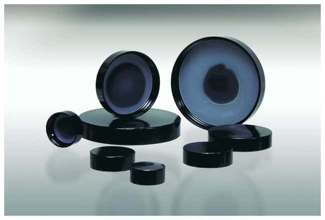 Qorpak&trade;&nbsp;Black Phenolic 0.030 Solid Polyethylene Lined Caps&nbsp;<img src=