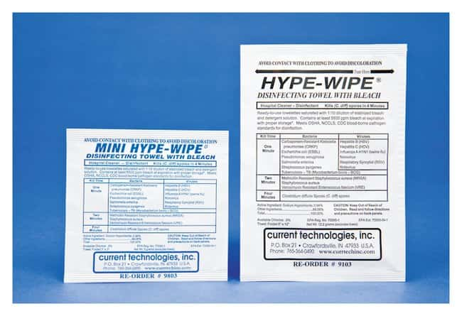 Current Technologies HYPE-WIPE and Mini HYPE-WIPE Bleach Towelettes :Testing