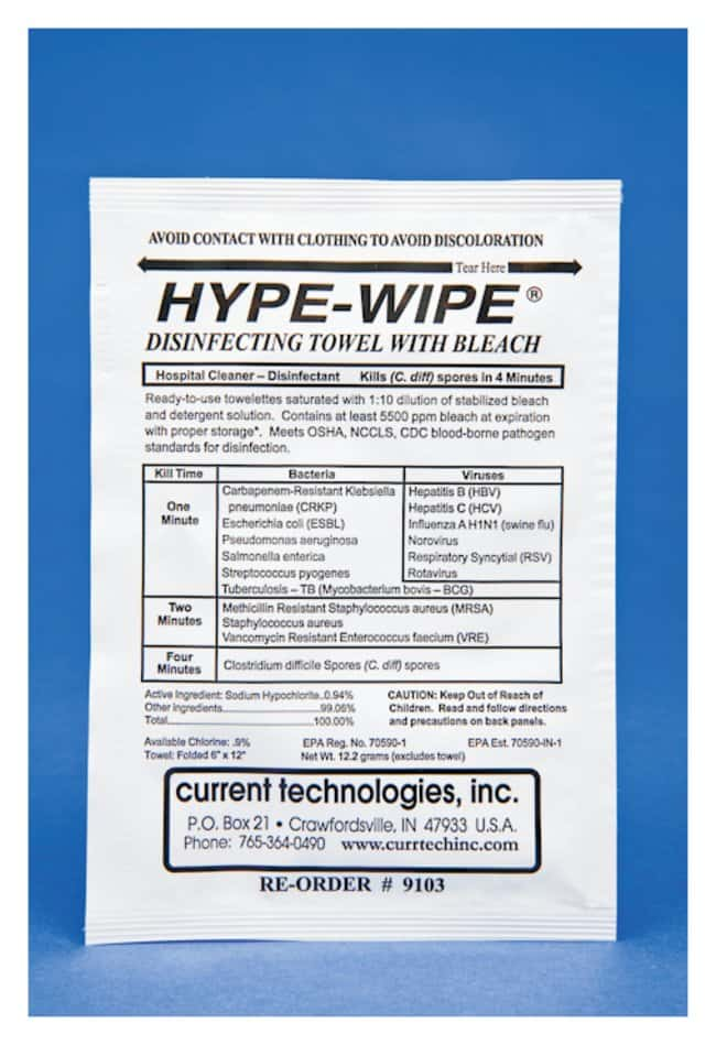 Current Technologies HYPE-WIPE and Mini HYPE-WIPE Bleach Towelettes  6