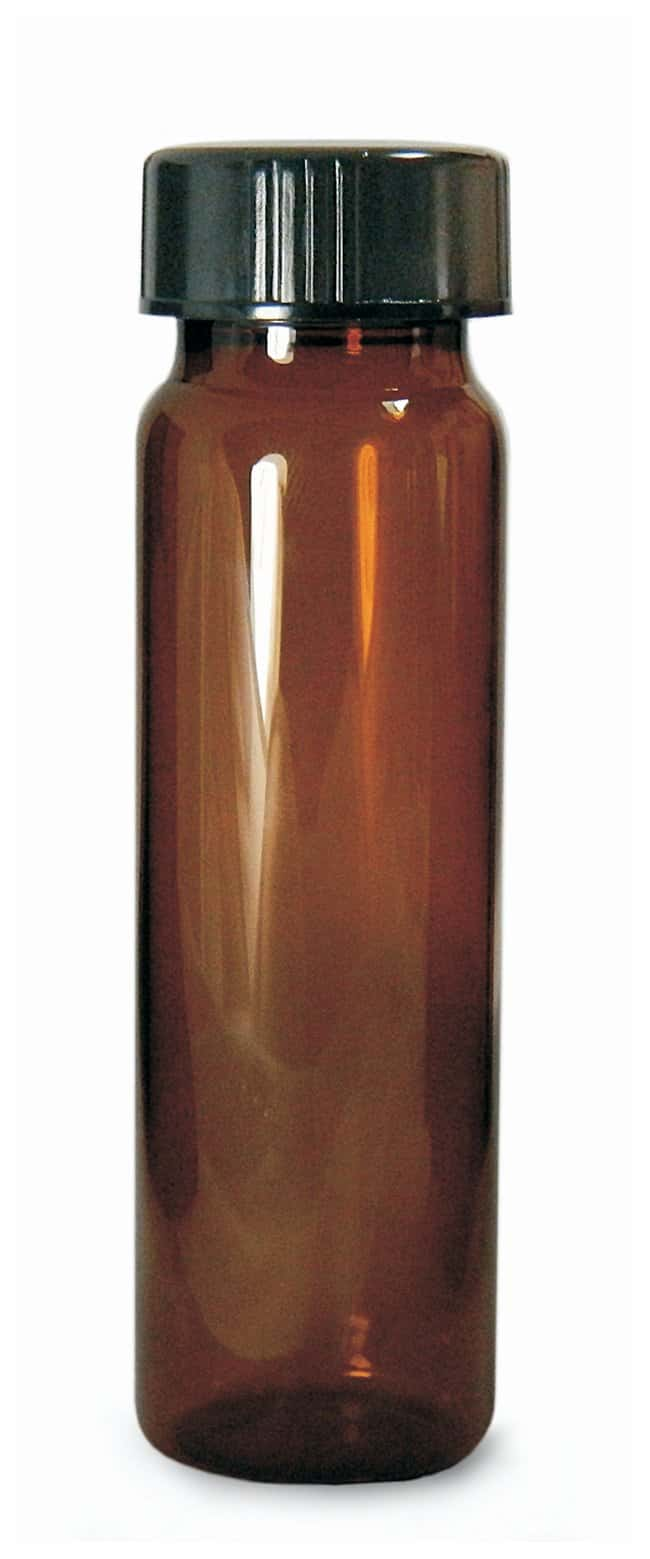 Qorpak Amber Vials with Black Phenolic Lined Caps  With attached Black