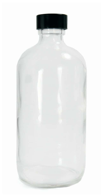 Qorpak™Clear Boston Round Bottles with Black Phenolic Rubber Caps