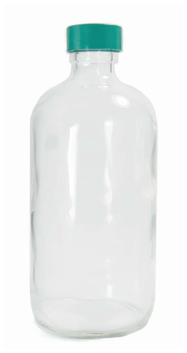Qorpak™ Clear Boston Round Bottles with Green Thermoset F217 and PTFE Caps
