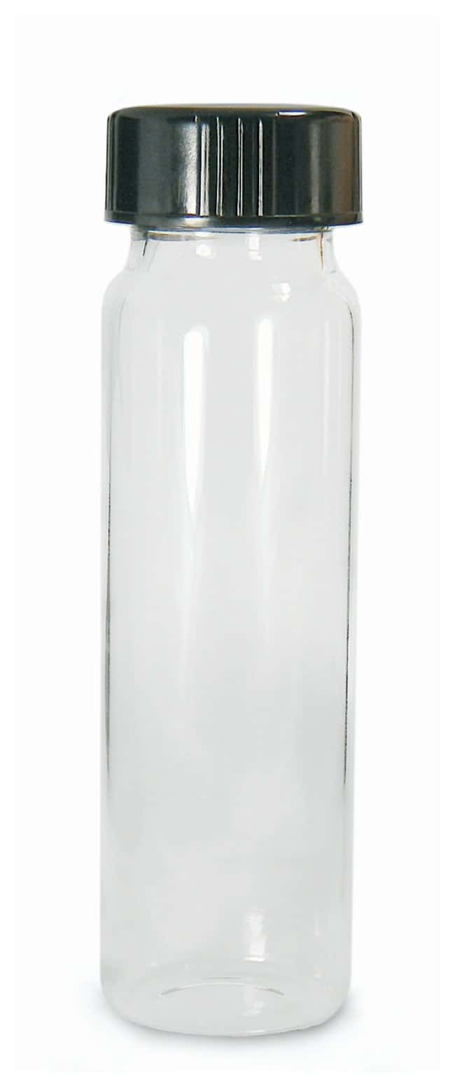 Qorpak Clear Borosilicate Sample Vials with Caps  With attached Black phenolic