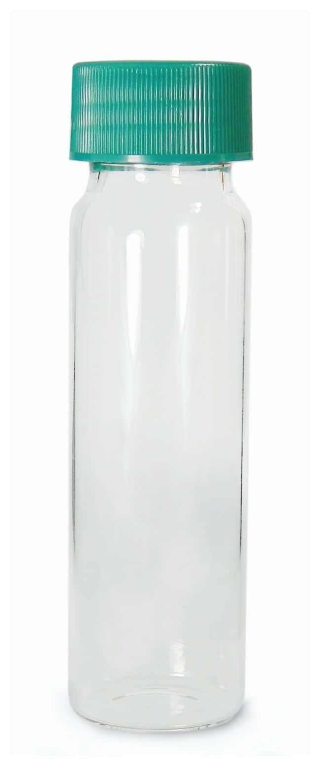 Qorpak Clear Borosilicate Sample Vials with Green Caps  With attached Green