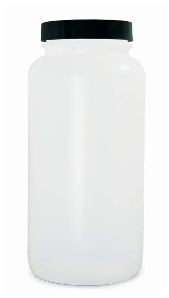 Qorpak  Natural HDPE Wide Mouth Round Bottles with Black Phenolic Solid PE Caps, Vacuum and Ionized