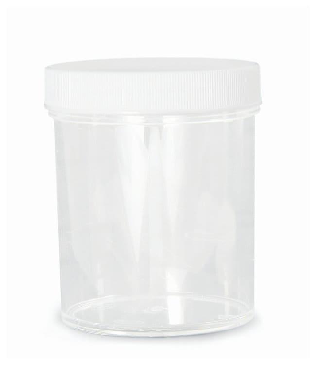 Qorpak™Clear Polystyrene Jars with Cap w/white PP SturdeeSeal PE foam lined cap; Screw Cap: 53mm-400; 2 oz. (60mL); Convenience Pk.; 48/Cs products