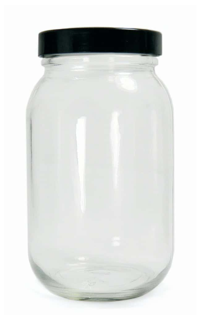 Qorpak™Clear Standard Wide Mouth Bottles with Black Phenolic Pulp/Vinyl Lined Cap
