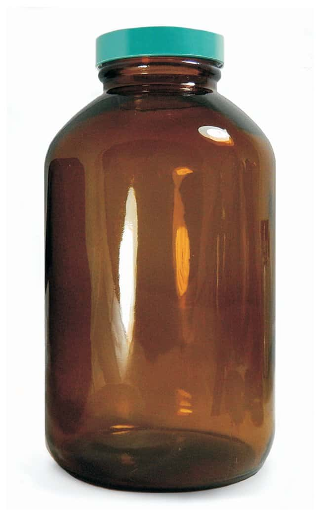Qorpak&trade;&nbsp;Amber Wide Mouth Packer Bottles with Green Thermoset F217 and PTFE Cap&nbsp;<img src=